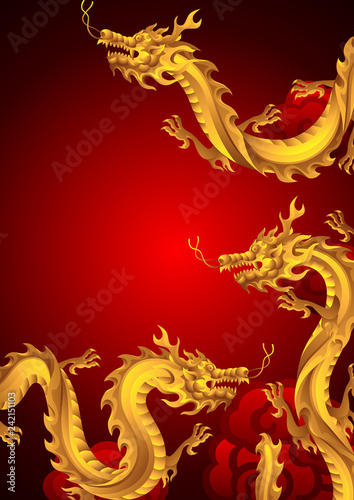 Background with Chinese dragons. Canvas Print