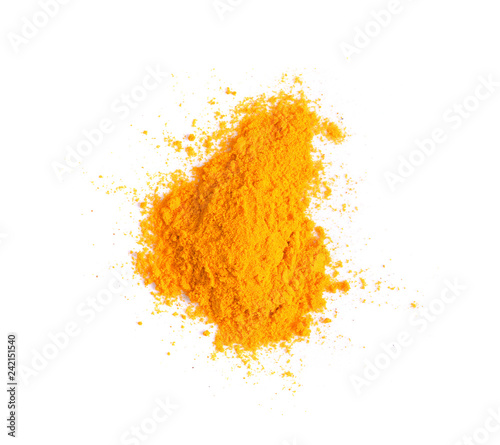 Turmeric (Curcuma) powder pile isolated on white background, top view Billede på lærred