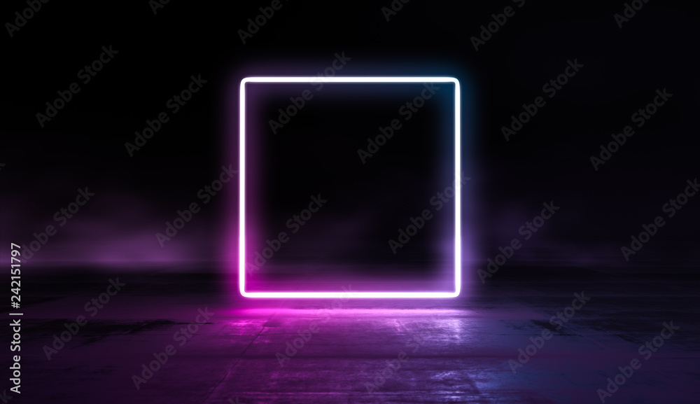 Fototapety, obrazy: Glowing lines vibrant colors abstract background. Neon pink blue lights in empty space with smoke. 3d render.
