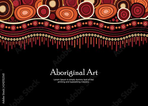 Photo Aboriginal art vector banner with text.