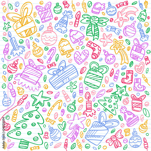 Colorful Christmas Background For Kids.Background Filled With Colorful Christmas Doodles For Kids