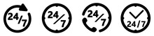 24/7 Services Icon. Simple Circle / Clock Drawing With Text. Four Different Versions.