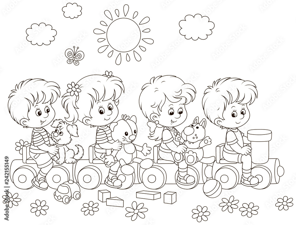 Fototapeta Small children playing on a toy train on a playground in a park, black and white vector illustration in a cartoon style for a coloring book
