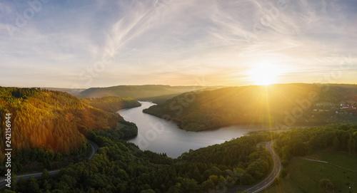 Fényképezés  Sunset at the Lake Rursee, Eifel Germany