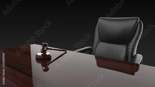 Valokuva  裁判 小槌 ジャッジガベルと机と椅子 パース