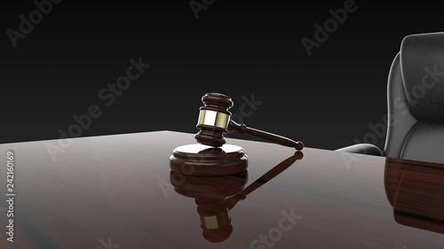 Valokuva  裁判 小槌 ジャッジガベルと机と椅子