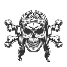 Skull In Pilot Helmet And Gogg...