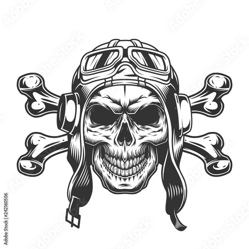 Photo Skull in pilot helmet and goggles