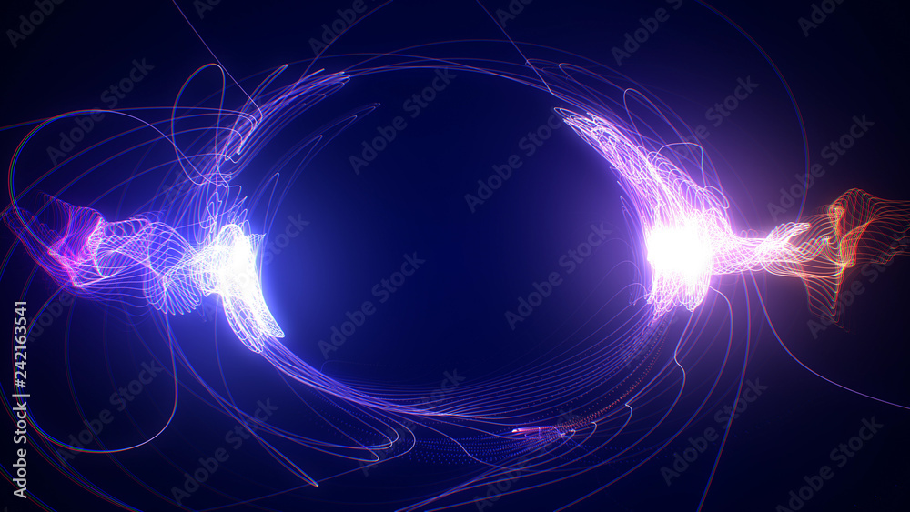 Fototapety, obrazy: Abstract blue and red futuristic sci-fi plasma circular form. 3D illustration of shining energy force field light strokes waving on a ring motion path for logo or text. 4K Ultra HD