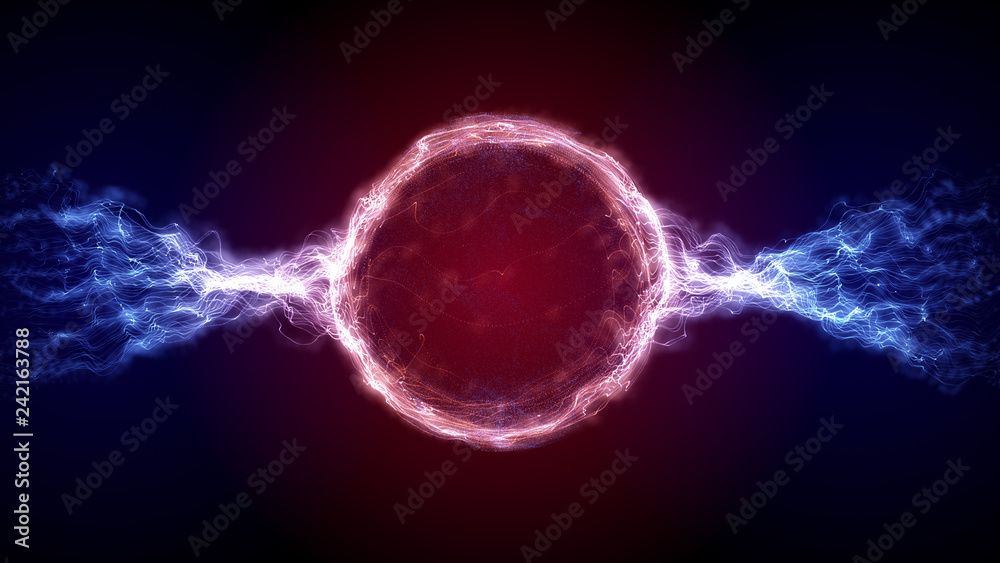 Fototapeta Abstract red and blue futuristic sci-fi plasma circular form. 3D illustration of shining energy force field light strokes waving on a ring motion path for logo or text. 4K Ultra HD