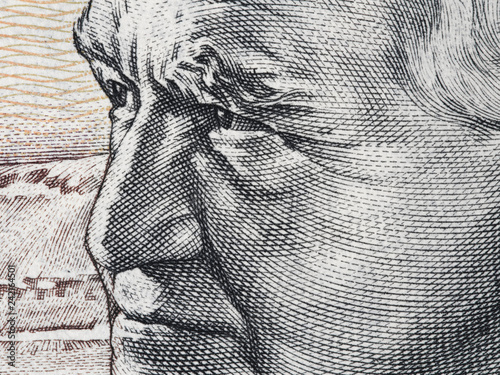 Fotomural David Ben-Gurion portrait on Israeli 50 sheqalim banknote extreme macro
