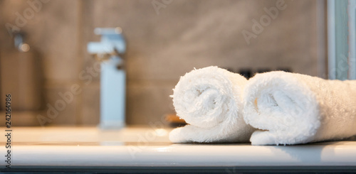 Fotografie, Obraz  Luxury bathroom sink and white towels. Closeup view with details