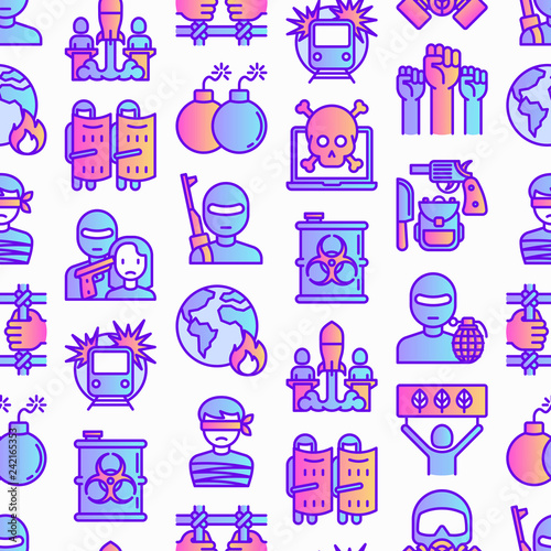Cuadros en Lienzo Stop terrorism seamless pattern with thin line icons: terrorist, civil disorder, national army, hostage, bombs, cyber attacks, suicide, bomber, illegal imprisonment, bioterrorism