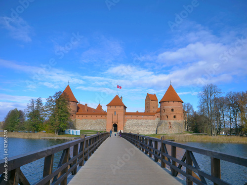Fotografering  Amazing landscape view of Trakai castle and wooden bridge before the gates, Lith