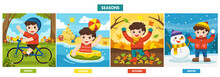 Illustration Of Four Seasons And Weather. A Cute Boy Playing In Different Seasons.