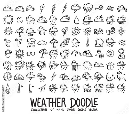 Foto Set of Weather icons Drawing illustration Hand drawn doodle Sketch line vector e