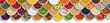 Früchte Beeren Gemüse Obst Nüsse Gewürze Zutaten Banner Textfreiraum Copyspace von oben