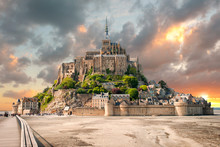 Panoramic View Of Famous Le Mont Saint Michel With Sunset