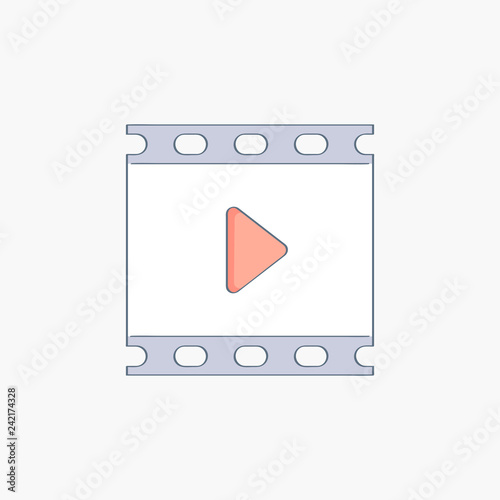 Valokuva  Videotape or film strip frames with video player icon and play button