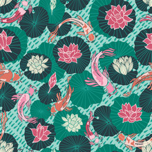 Seamless Vector Pattern With Hand Drawn Koi Fish Or Japanese Carps And Lotus Pads In A Modern, Colorful Graphic Style.