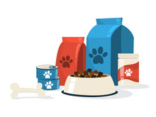 Food For Pet. Dog Bowl And Package
