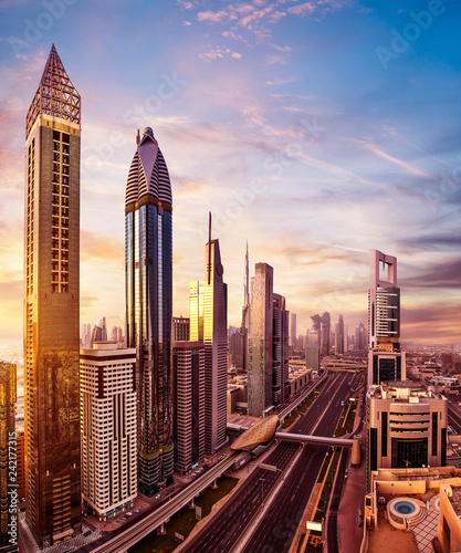 Deurstickers Stad gebouw Dubai sunset panoramic view of Burj Khalifa