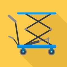 Hydraulic Lift Cart Icon. Flat Illustration Of Hydraulic Lift Cart Vector Icon For Web Design