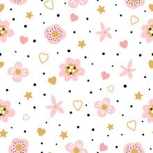 Cute Pink Seamless Floral Pattern For Kids Baby Apparel Fabric Textile Wallpaper Sleepwear, Pajamas
