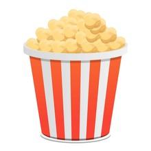 Popcorn Bucket Icon. Cartoon Of Popcorn Bucket Vector Icon For Web Design Isolated On White Background