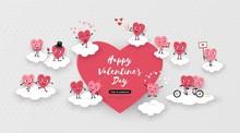 Happy Valentines Day Festive Design, Love, 3d Paper Cut Loving Hearts, Vector