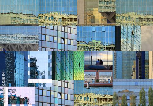 obraz lub plakat Collage di riflessi nei vetri di palazzi.