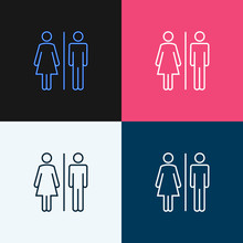 WC Sign Restroom Icon. Toilet Bathroom Male And Female Symbol. Wc Isolated Line Pictogram