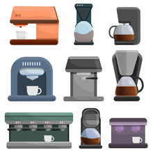 Coffee Maker Icon Set. Cartoon Set Of Coffee Maker Vector Icons For Web Design