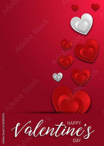 Happy Valentines Day Greeting Card Template With Typography Text