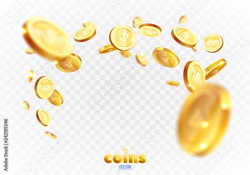 Fotografía  Realistic Gold coins explosion