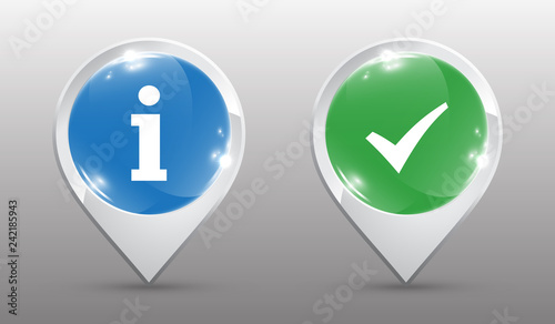 Location pins with Check Mark and Information Sign - Buy