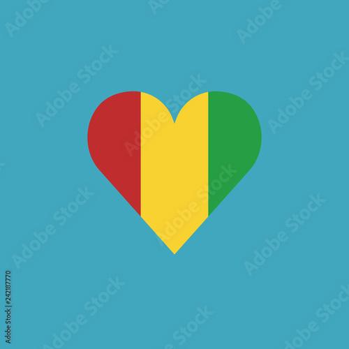 Fotografía  Guinea flag icon in a heart shape in flat design