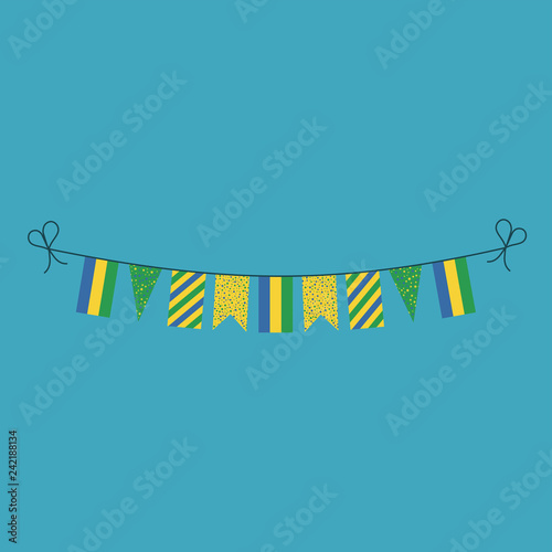 Fotografie, Obraz  Decorations bunting flags for Gabon national day holiday in flat design