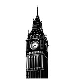 Fototapeta Big Ben - Vector illustration of famous Big Ben tower in London isolated over white background. National symbol. Tourism attraction of capital of Great Britain.