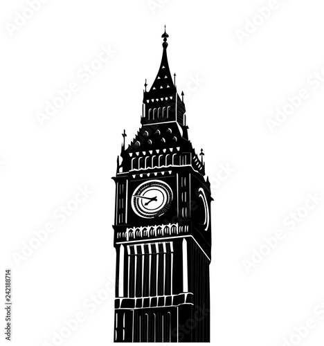 Vector illustration of famous Big Ben tower in London isolated over white background Canvas Print