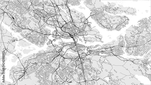 Canvas Print map of the city of Stockholm, Sweden