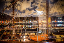 Beautiful Night From Albert Dock In Liverpool England With Buildings And Boats