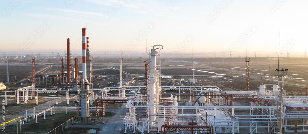 Fototapety, obrazy: oil refinery. Equipment for primary oil refining