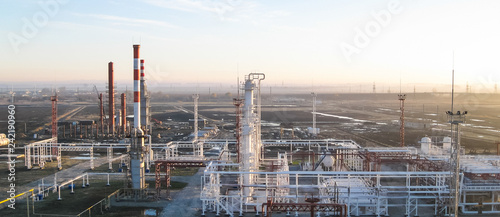 oil refinery. Equipment for primary oil refining Tablou Canvas