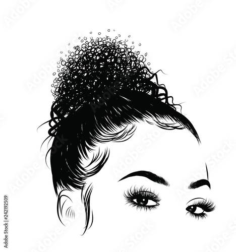 Fotografie, Obraz  Curly beauty girl illustration isolated on clear background