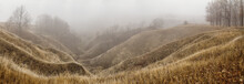 Autumn Landscape, Panorama - Spurs Of Ravine Near Winding River, Covered With Fog, Over The Meadows Between Hills And Forests, The Northeast Of Ukraine