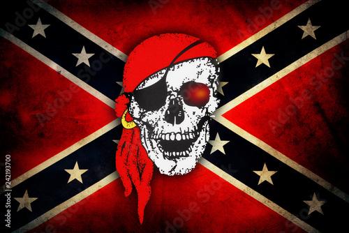 Skull on Confederate flag Fototapet