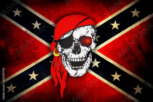 Skull on Confederate flag Tablou Canvas