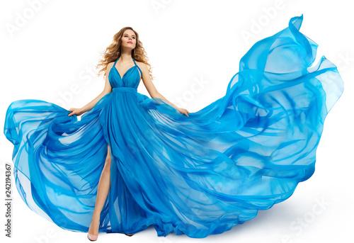 Fotografia Woman Flying Blue Dress, Fashion Model Dancing in Long Waving Gown, Fluttering F