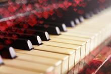 Close-up Of Old Piano Keyboard, Selective Focus, Soft Toning. Valentine's Day Background, Vintage Piano And Bokeh Hearts